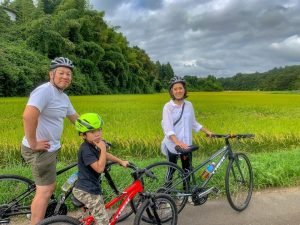 Enjoy guided cycling between rice fields